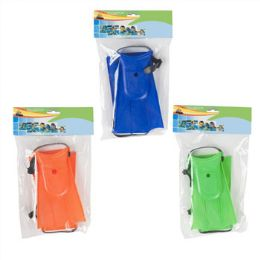 24 of Swimming Fins Pair Kids Size 3asst Colors Summer Polybag/hdr