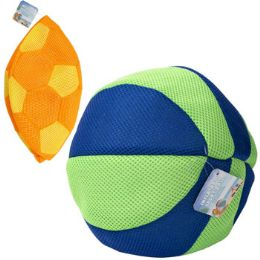 24 of Inflatable Soccer/beach Ball Mesh Covered Rubber 10in 2ast