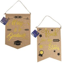 36 of Graduation Banner Faux Burlap 2ast Hotstamp Print 14x10in/ht