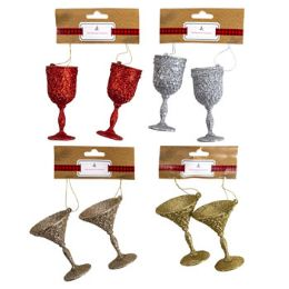 48 of Ornament Glitter 2pk Stemware