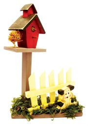 20 of Decorative Wooden Bird House On Picket Fence And Grass Deco Hand Painted Asst. Animals 10 Inches Tall