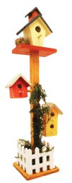12 of Decorative Wood 3 Mini Birdhouses On Tall Pedestal Picket Fence Deco. 14.5