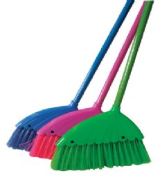 36 of Angle Broom 12 Inch With 43 Inch Metal Handle Assorted Colors