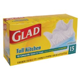 12 of Glad Tall Kithcen Trash Bags 15 Count 13 Gallon Quick Tie