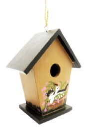 24 of Wooden Bird House Hand Painted 6 Inches Tall
