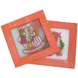 48 of Thanksgiving Stained Glass Plaque 6.5x6.5 Inch Prepriced At $2.99