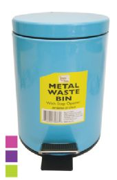 8 of Metal SteP-On Waste Basket 0.8 G With Step Opener Assorted Colors