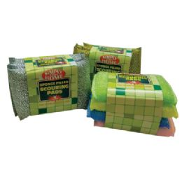 48 of Sponge Filled Scouring Pads 4 Pk 5 X 3.5 Inch Heavy Duty Assorted Colors In Display