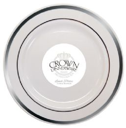 12 of Crown Dinnerware Lunch Plate 9 Inch 10 Pack Executive Collection White/silver