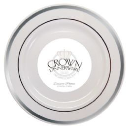 12 of Crown Dinnerware Dessert Plate 7 Inch 10 Pk Executive Collection White/silver