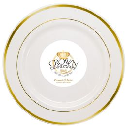 12 of Crown Dinnerware Dinner Plate 10 Inch 10 Pack Executive Collection White/gold