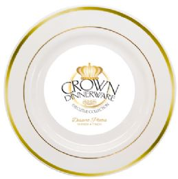 12 of Crown Dinnerware Dessert Plate 10 Pk 7 Inch Executive Collection White/gold