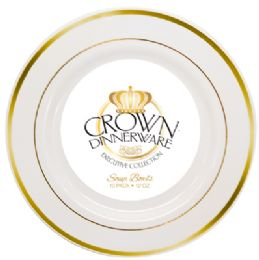 12 of Crown Dinnerware Soup Bowl 10 Pk 12 Oz Executive Collection White/gold