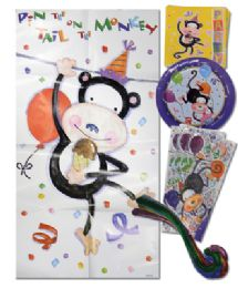 48 of American Greeting Birthday Kit 33 Pc Party Animal Design 8 EacH- Plates/ Napkins/cello Party Bags/monkey Tails/1 Pin The Tail On The Monkey Board