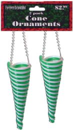 72 of Christmas Plastic Swirl Cone Ornament 2 Pack 5 Inch