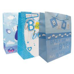 48 of Baby Boy Gift Bag 18 X 13 X 4 Inch Jumbo Assorted Designs