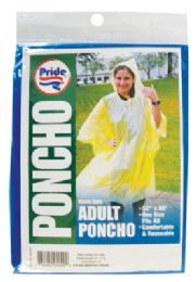 48 of Adult Poncho 52 X 80 Inch Assorted Colors