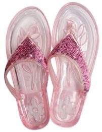 12 of Ladies Embellished Jelly Flip Flops Assorted Sizes 5-11