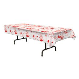 12 of Bloody Handprints Tablecover plastic