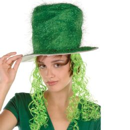 6 of Tinsel Top Hat W/curly Wig One Size Fits Most