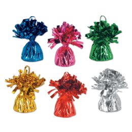 12 of Metallic Wrapped Balloon Weights Asstd Colors