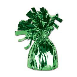 12 of Metallic Wrapped Balloon Weight Green