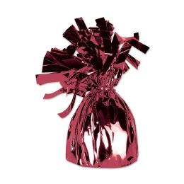 12 of Metallic Wrapped Balloon Weight Maroon
