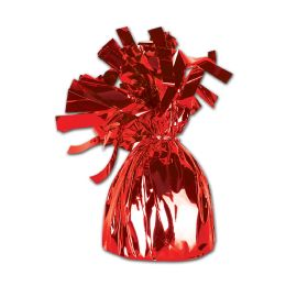 12 of Metallic Wrapped Balloon Weight Red