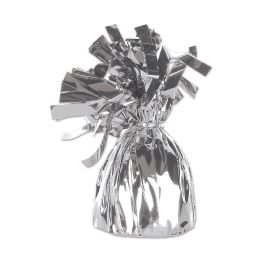 12 of Metallic Wrapped Balloon Weight Silver