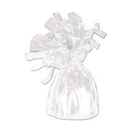 12 of Metallic Wrapped Balloon Weight White