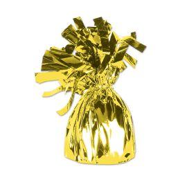 12 of Metallic Wrapped Balloon Weight Yellow Cellophane