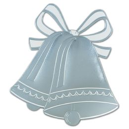 24 of Foil Wedding Bell Silhouette Silver; Foil/prtd 2 Sides