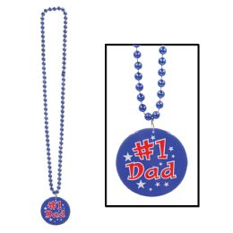 12 of Beads W/printed #1 Dad Medallion