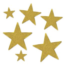12 of Glittered Foil Star Cutouts gold; foil 2 sides/gltrd 1 side; 2-5 , 2-9 , 2-12