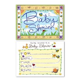 12 of B Is For Baby Invitations Envelopes Included; Prtd 2 Sides