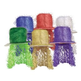 6 of Tinsel Top Hat w/Curly Wig asstd colors; one size fits most