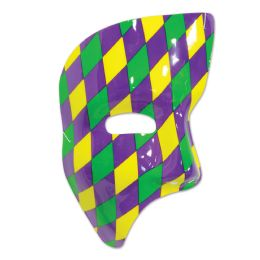 24 of Phantom Mask golden-yellow, green, purple harlequin design; elastic attached