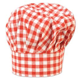 12 of Gingham Fabric Chef's Hat red; one size fits most; velcro closure