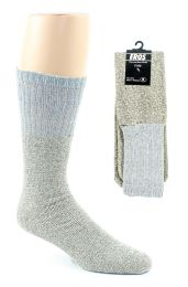 24 of Men's Thermal Tube Boot Socks - Grey W/light Grey Tops - Size 10-13
