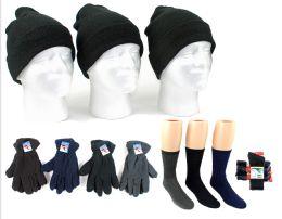 180 of Adult Cuffed Knit Hats, Men's Fleece Gloves, & Men's Wool Blend Socks Combo