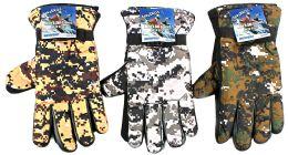36 of Men's Camouflage Ski Gloves W/ Grips