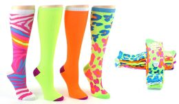 6 of Women's Knee High Novelty Socks - Assorted Neon Prints - Size 9-11 - 4-Pair Packs