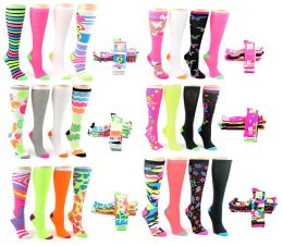 24 of Women's Knee High Novelty Socks - Assorted Neon Prints - Size 9-11 - 4-Pair Packs