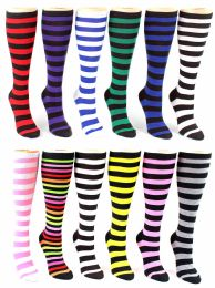 24 of Women's Knee High Novelty Socks - Striped Print - Size 9-11