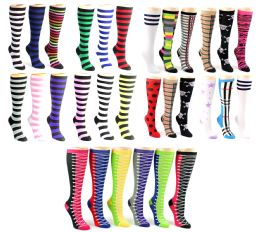 120 of Women's Knee High Novelty Socks - Assorted Styles - Size 9-11