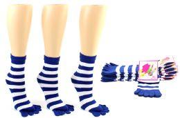 24 of Women's Toe Socks - Blue & White Striped Print - Size 9-11