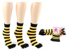 24 of Women's Toe Socks - Black & Gold Striped Print - Size 9-11