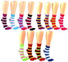24 of Women's Toe Socks - Striped Print - Size 9-11