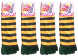24 of Women's Toe Socks - Green & Gold Striped Print - Size 9-11