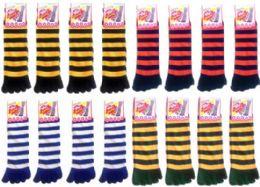 120 of Women's Striped Toe Socks Mega Mix (size 9 - 11)